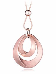 cheap -waterdrop brushed rose gold pendant necklace for women