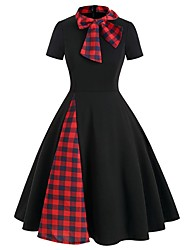 cheap -Women's A-Line Dress Knee Length Dress - Short Sleeve Check Patchwork Bow Print Spring Summer Casual Slim 2020 Black Green S M L XL XXL