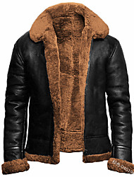 cheap -mens aviator b3 world war2 real shearling sheepskin flying jacket (large, brown)