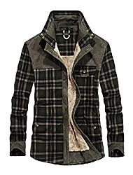 cheap -men's long sleeve sherpa lined shirt jacket flannel plaid fleece coats (small, dark green)