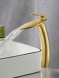 cheap -Brushed Gold Waterfall Bathroom Sink Faucet with Supply Hose,Single Handle Single Hole Vessel Lavatory Faucet,Slanted Body Basin Mixer Tap Tall Body Commercial
