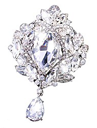 cheap -wedding bridal big crystal rhinestone bouquet brooch pin for women (silver)