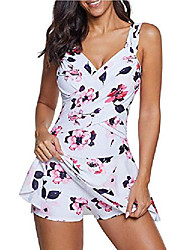 cheap -womens v neck one piece bathing suit swimdress tummy control swim dress flower print skirt swimwear dress white with flower xl (fits like us 14-16)
