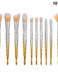 cheap -10pcs plastic handle soft nylon bristles makeup brush cosmetics powder blush brush kit for woman ladies (tm-046)