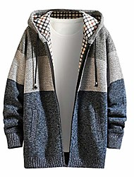 cheap -men's plus velvet thick jacket sweater stand collar colorblock cardigan coat(c blue,m)