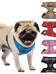 cheap -Cat Dog Harness Vest Breathable Adjustable / Retractable Training Safety Soft No Pull Plaid / Check Mesh Black Red Blue Pink Beige