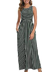 cheap -womens casual loose flowy striped maxi long summer dress oversized green xl