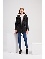 cheap -Women's Solid Colored Active Fall & Winter Coat Regular Daily Long Sleeve Coat Tops Black