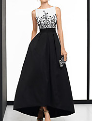 cheap -A-Line Elegant Beautiful Back Wedding Guest Formal Evening Dress Boat Neck Sleeveless Asymmetrical Satin with Appliques 2020