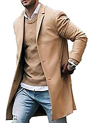 cheap -men trench coat  slim fit notched collar overcoat single breasted long pea coat jacket