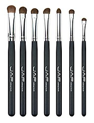 cheap -7 pieces wooden handle natural hair makeup brush set soft eye brush set eyeshadow brushes easy to carry (black)