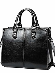 cheap -women leather handbags vintage leather tote handbag work bag (coffee)