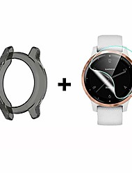 cheap -compatible for garmin vivoactive 4s case,  silicone case with tpu screen protector (2 pack) for garmin vivoactive 4s smartwatch (black case+ screen protector)