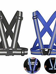 cheap -safety reflective vest with adjustable strap for running, cycling, motorcycle and walking, fits over outdoor clothing, breathable waterproof lightweight and 360°high visibility design(2 pack)
