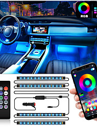 cheap -Interior Car Lights Car LED Strip Lights 2-in-1 Design 4pcs 48 LED Remote and APP Controller Lighting Kits Waterproof Multi DIY Color Music Car Lighting with Car Charger and DC 12V