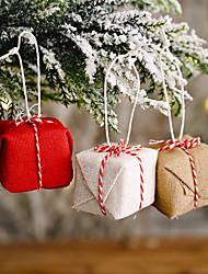cheap -Christmas Celebration Supplies Linen Gift Box Pendant Creative New Small Gift Bag Pendant Red Gift Box