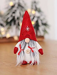 cheap -gnome doll gifts, christmas swedish tomte, handmade cute gnome plush nordic santa as table ornament, christmas holiday decorations, xmas gifts for home decor (a-red)