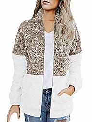 povoljno -ležerna plišana jakna ženske zimske dame plus podebljani prošiveni kontrastni džepni kaput s patentnim zatvaračem smeđa