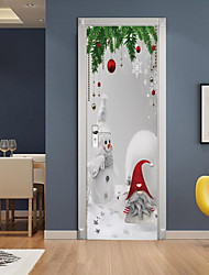 cheap -Christmas Snowman Self-adhesive Creative Door Stickers Living Room Diy Decoration Home Waterproof Wall Stickers