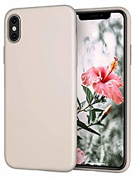 cheap -for iphone x xs case,  [silky and soft touch series] premium soft button silicone rubber full-body protective bumper case compatible with apple iphone x/iphone xs 5.8 inch, (white stone)