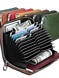 cheap -Travel Wallet Business Card Holders Document Organizer Anti-theft RFID Blocking Zip Around Casual Traveling PU Leather Classic Vintage Gift For Men and Women 3*10.5*13 cm