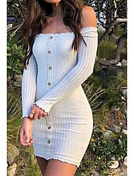 cheap -Women's Sheath Dress Short Mini Dress - Long Sleeve Solid Color Pocket Fall Winter Off Shoulder Sexy Slim 2020 Blushing Pink Gray S M L XL