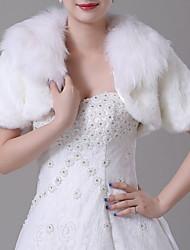cheap -Short Sleeve Shawls Faux Fur Wedding Women's Wrap With Trim