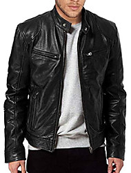 cheap -men's black full grain genuine lambskin leather jacket (large)