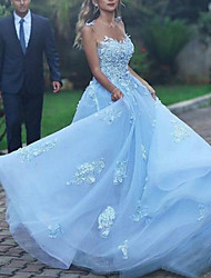 cheap -A-Line Beautiful Back Sexy Prom Formal Evening Dress Spaghetti Strap Sleeveless Court Train Lace Tulle with Lace Insert Appliques 2021