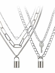 cheap -lock chain necklace, egirl chains, statement lock key pendant necklace silver set eboy long multilayer chains punk choker 2 set(5 layer)
