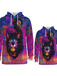 cheap -Daddy and Me Active Cat Graphic 3D Print Animal Print Long Sleeve Regular Hoodie & Sweatshirt Fuchsia