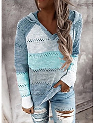 cheap -Women's Knitted Color Block Pullover Long Sleeve Loose Sweater Cardigans Hooded Fall Winter Black khaki Green