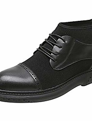 cheap -ankle boots for men high top oxford lace up microfiber leather & fabric patchwork round toe rubber sole flat back zipper (color : black, size : 8.5 m us)