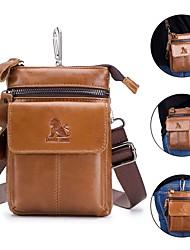 cheap -Men's Bags Cowhide Fanny Pack Shoulder Strap Zipper Daily Outdoor Bum Bag MessengerBag Brown