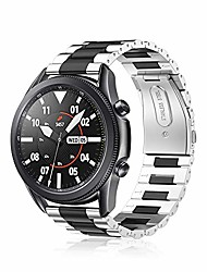 cheap -bands compatible with samsung galaxy watch 3 45mm, solid stainless steel metal bracelet strap replacement wrist band, black&silver