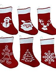 cheap -6pcs Christmas decorations family Christmas socks gift bags knitted Christmas socks