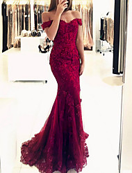 cheap -Mermaid / Trumpet Sexy Red Prom Formal Evening Dress Off Shoulder Short Sleeve Sweep / Brush Train Polyester with Beading Sequin Appliques 2020