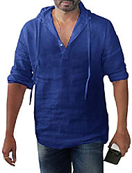 cheap -mens linen henley shirts pullover hoodie casual lightweight long sleeve t shirts top & #40;x-large, 03-red& #41;