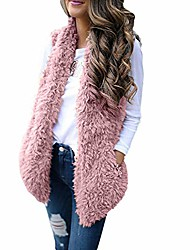 cheap -womens winter warm soft fluffy faux fur sleeveless jacket vest gilet waistcoat coat wine