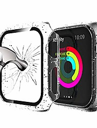 cheap -glitter case compatible with apple watch series se/6/5/4 40mm, translucent pc bumper with ultra hd tempered glass screen anti-scratch bubble free full protective cover for iwatch series se/6/5/4