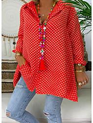 cheap -Women's Plus Size Blouse Shirt Polka Dot Long Sleeve Shirt Collar Tops Basic Top Blue Red Yellow
