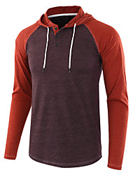 cheap -men's casual long sleeve raglan lightweight henley athletic henley jersey hoodie shirt, dark red, small
