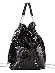 cheap -women drawstring bucket bag reversible mermaid sequin chain shoulder bag crossbody handbags (black)
