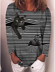 cheap -Women's T shirt Striped Cat Long Sleeve Print Round Neck Tops Basic Basic Top Black