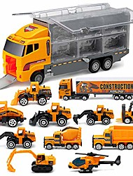cheap -die-cast trucks engineering construction car toys fire engine truck toys gifts set - mini play vehicles car toy in carrier truck play car gifts for toddlers kids boys girls (construction truck01)