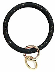 cheap -bangle key ring car keychain - silicone round key ring bracelet with metal key holder,wristlet keychains for women and girls (bilingbiling black)