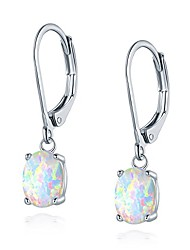 cheap -leveback dangle earrings created white oval opal 6x8mm for women teen girls nickel free 18k white gold plated opaltop