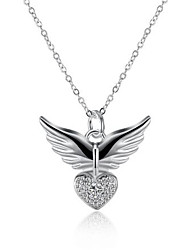 cheap -Women's Cubic Zirconia Pendant Necklace Classic Angel Wings Fashion Silver Plated Silver 45+5 cm Necklace Jewelry 1pc For Anniversary Party Evening Gift