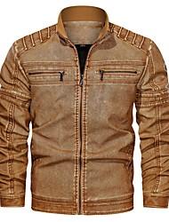 cheap -Men's Faux Leather Jacket Dailywear Winter Coat Jacket Solid Color Black Brown