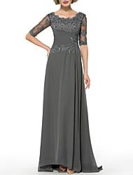 cheap -Sheath / Column Mother of the Bride Dress Elegant Sparkle & Shine Jewel Neck Sweep / Brush Train Chiffon Half Sleeve with Beading Sequin Appliques 2020